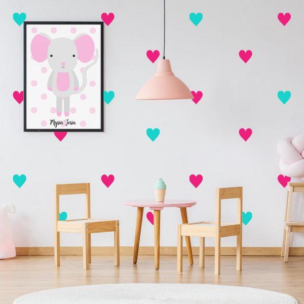 naklejki na ścianę serca