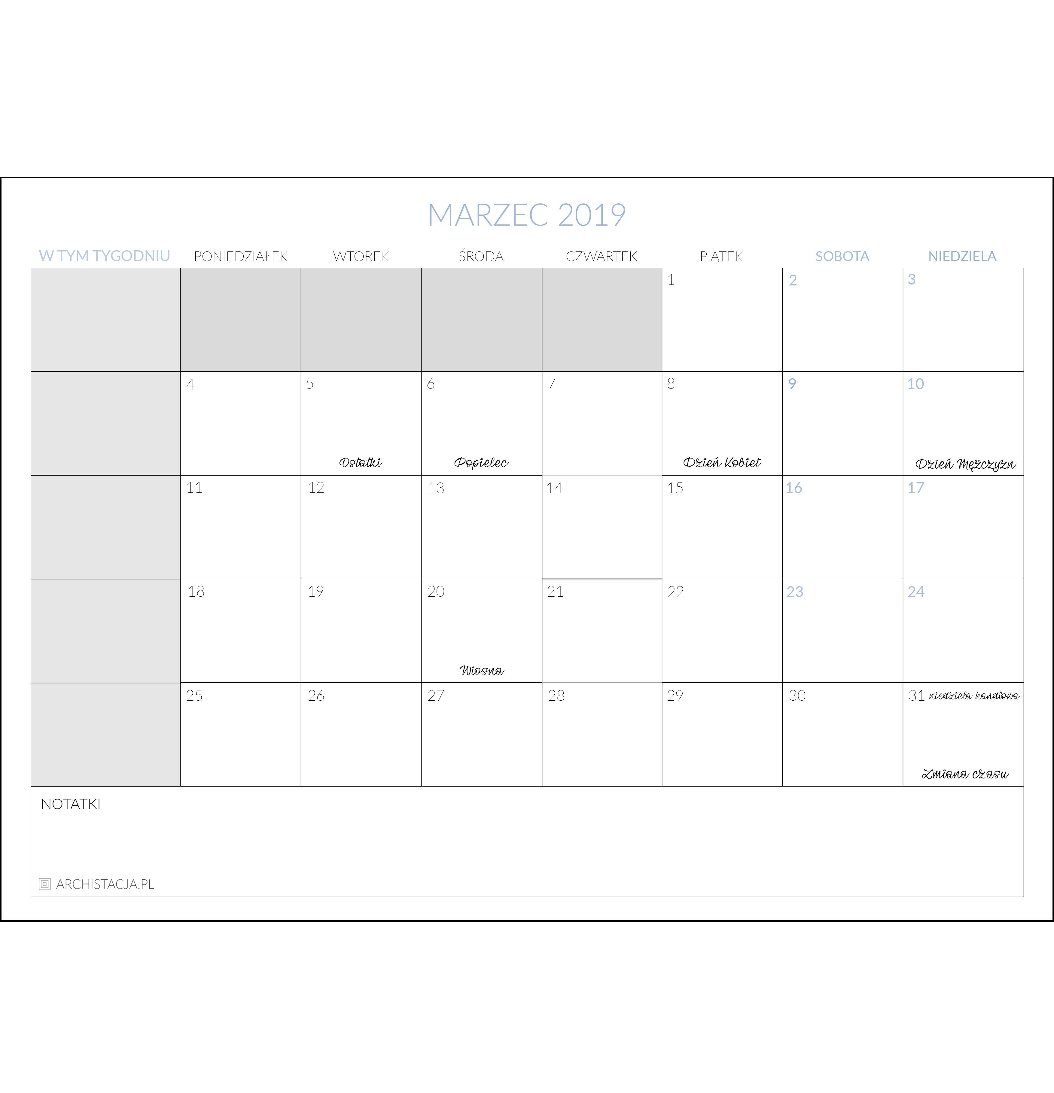 Kalendarz Na Luty 2019 Do Pobrania Skleparchistacjapl