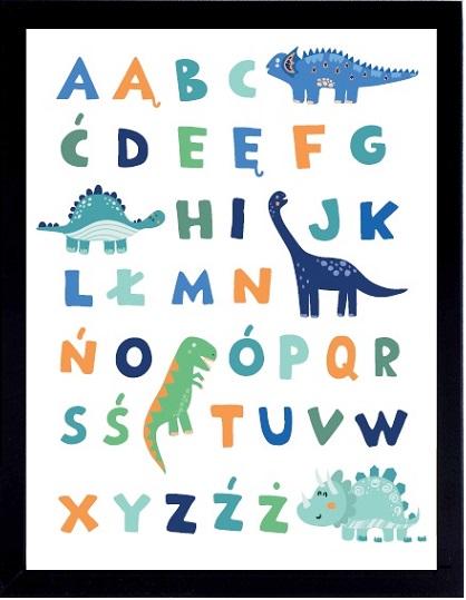 plakat alfabet diniozaury
