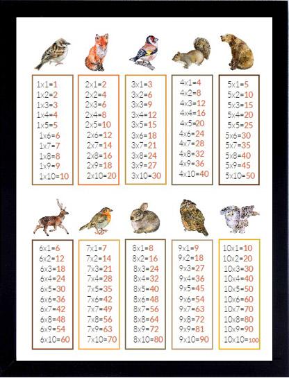 plakat tabliczka mnożenia zwierzęta leśne