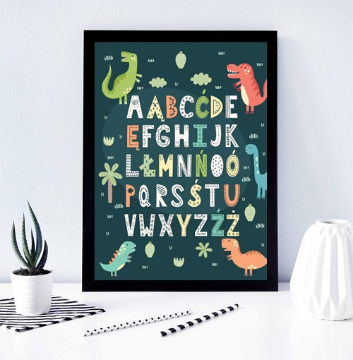 plakat alfabet dinozaury